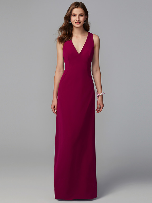 Sheath / Column V Neck Floor Length Lace / Knit Bridesmaid Dress with Lace