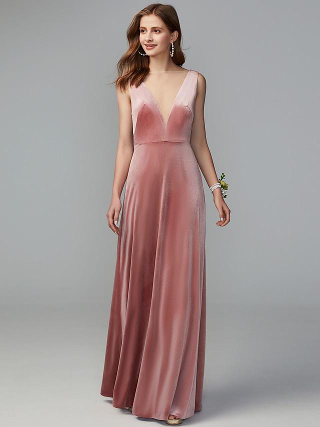 Sheath / Column Illusion Neck Maxi / Floor Length Velvet Bridesmaid Dress with Draping / Open Back