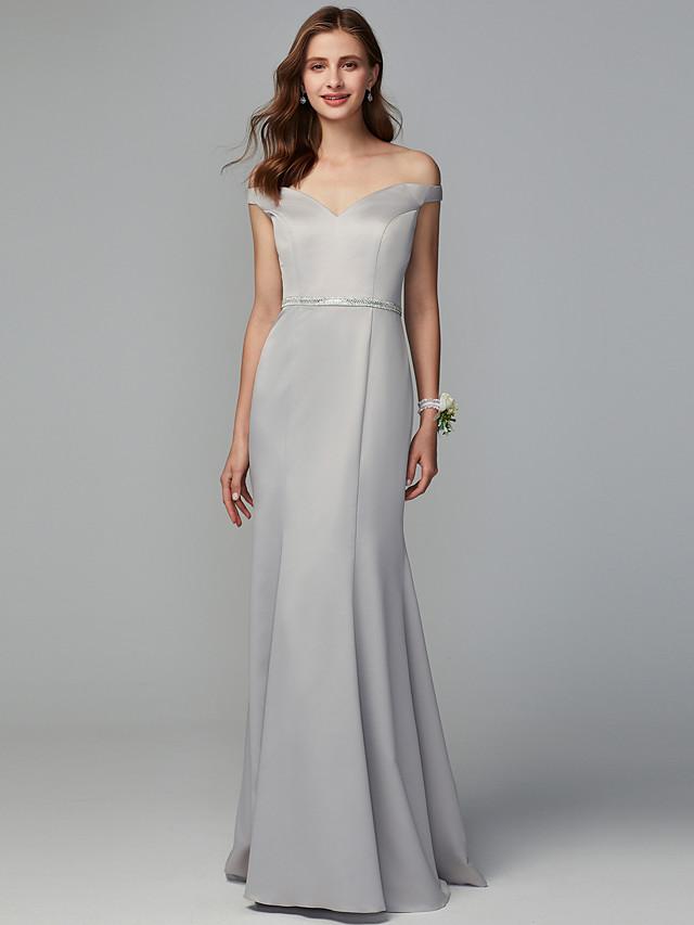 Mermaid / Trumpet Off Shoulder Floor Length Satin Bridesmaid Dress with Sash / Ribbon