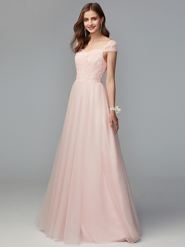 A-Line Sweetheart Neckline Floor Length Lace / Tulle Bridesmaid Dress with Lace / Pleats