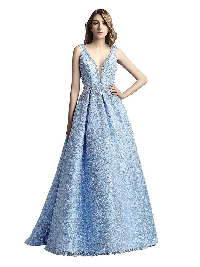 A-Line V Neck Sweep / Brush Train Lace Sparkle & Shine Formal Evening / Black Tie Gala Dress with Beading 2020