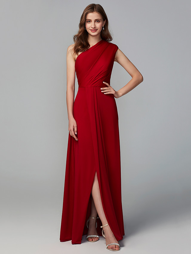 A-Line One Shoulder Floor Length Jersey Bridesmaid Dress with Ruching
