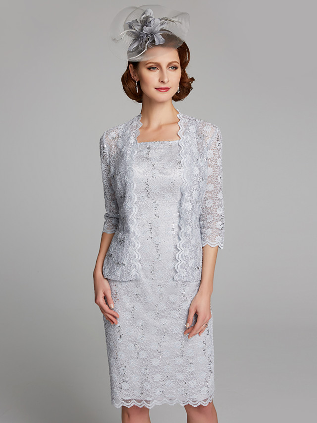 Sheath / Column Mother of the Bride Dress Square Neck Knee Length Lace Sleeveless with Lace 2020