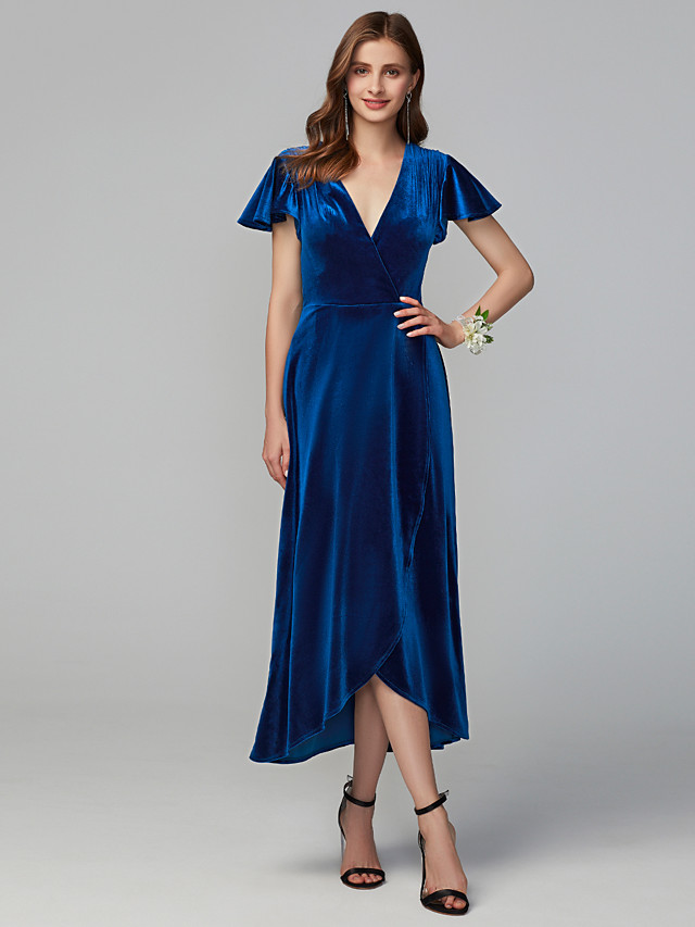 A-Line V Neck Asymmetrical Velvet Bridesmaid Dress with Split Front
