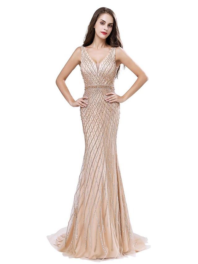 Mermaid / Trumpet V Neck Sweep / Brush Train Lace Sparkle & Shine Formal Evening / Black Tie Gala Dress with Beading 2020