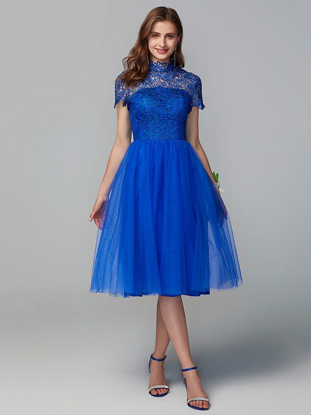 A-Line High Neck Knee Length Lace / Tulle Bridesmaid Dress with Lace
