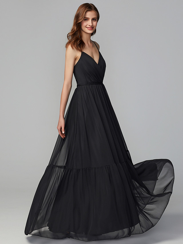 A-Line Spaghetti Strap Floor Length Tulle Bridesmaid Dress with Criss Cross / Pleats