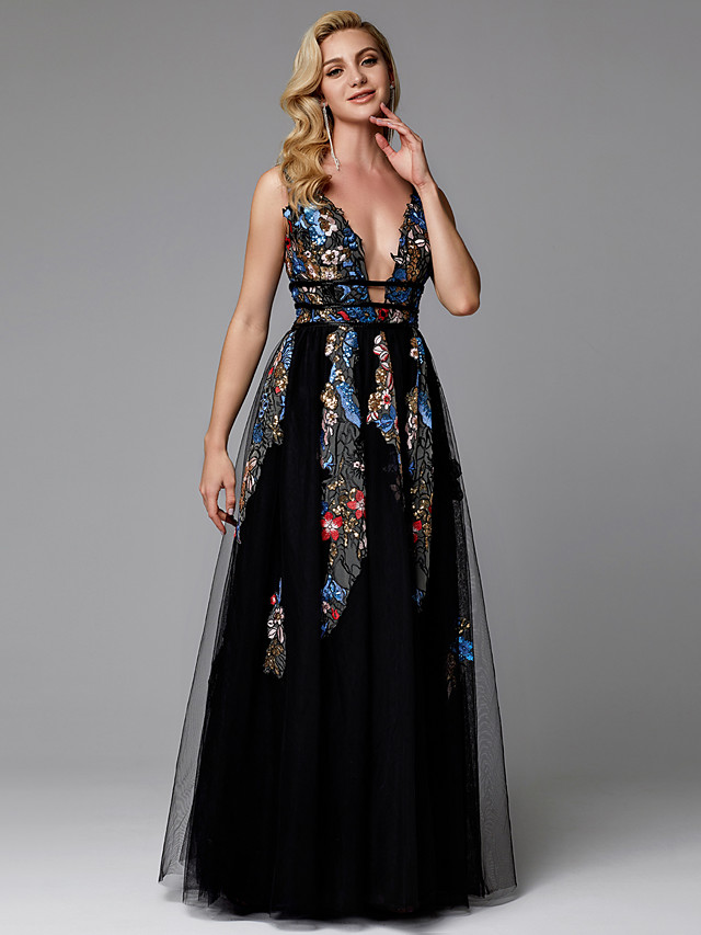 A-Line Floral Black Prom Formal Evening Dress V Neck Sleeveless Floor Length Lace Tulle with Embroidery Appliques 2020