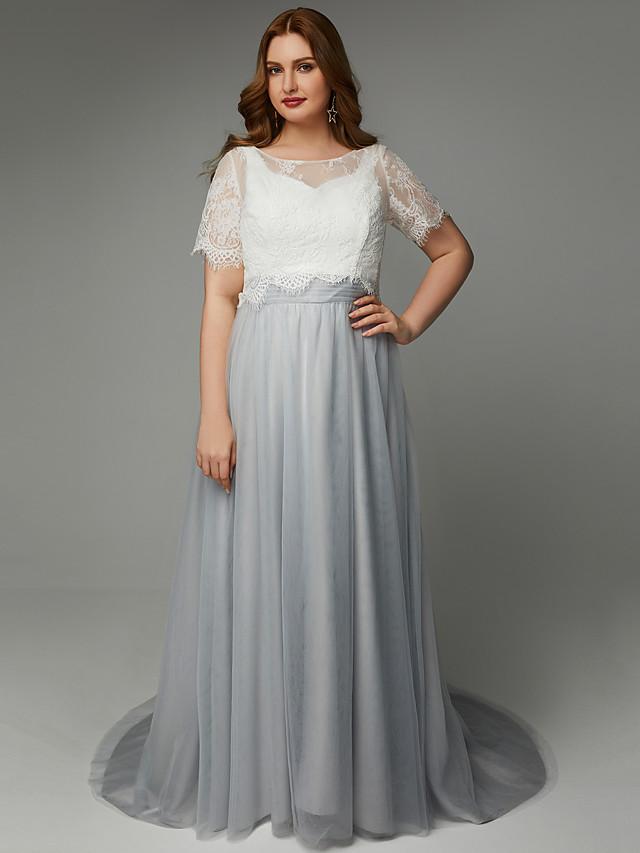 Γραμμή Α Με Κόσμημα Ουρά Δαντέλα / Τούλι Επίσημο Βραδινό Φόρεμα με Δαντέλα / Ζώνη / Κορδέλα με TS Couture®