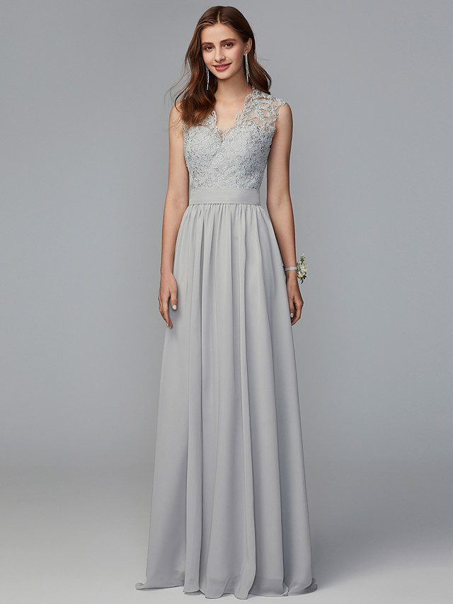 A-Line V Neck Sweep / Brush Train Chiffon / Lace Bridesmaid Dress with Lace / Pleats / Open Back