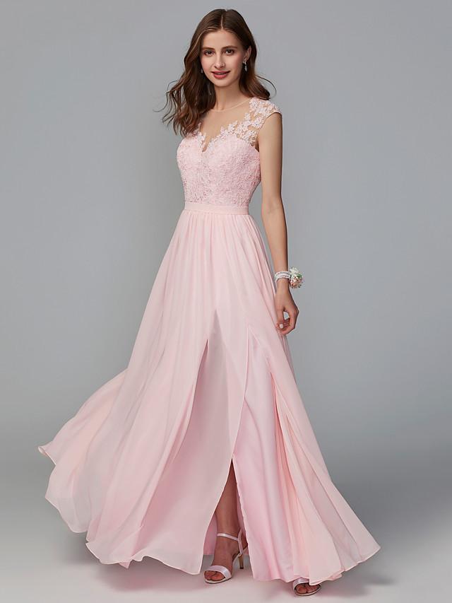 A-Line Illusion Neck Floor Length Chiffon / Lace Bridesmaid Dress with Lace / Sash / Ribbon / Split Front