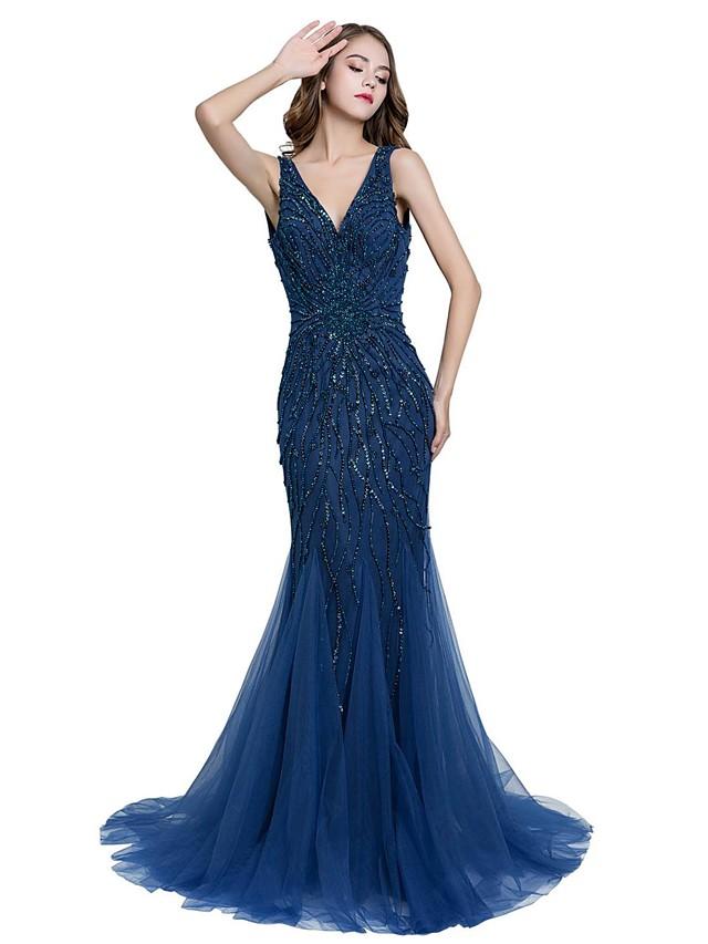 Mermaid / Trumpet V Neck Sweep / Brush Train Tulle Sparkle & Shine Formal Evening / Black Tie Gala Dress with Beading 2020