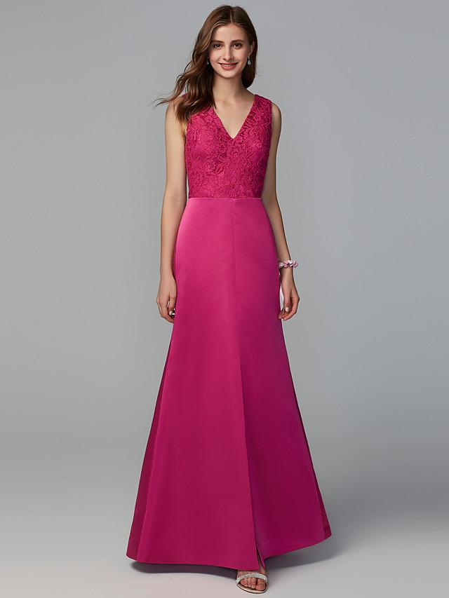 A-Line V Neck Floor Length Lace / Taffeta Bridesmaid Dress with Lace