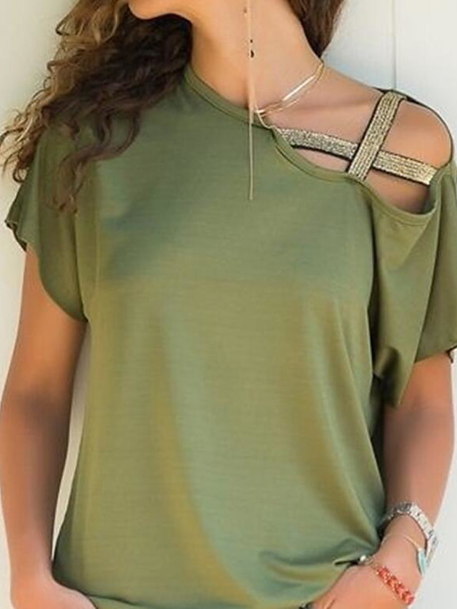 Women's Solid Colored Off Shoulder Hollow Loose T-shirt Daily Boat Neck Wine / Black / Blue / Purple / Army Green / Fuchsia / Orange