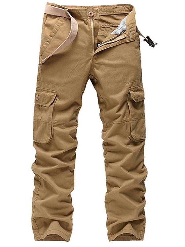 Hombre Basico Militar Tallas Grandes Diario Chinos Pantalones Tipo Cargo Pantalones Un Color Longitud Total Negro Verde Ejercito Caqui 7085029 2021 38 49