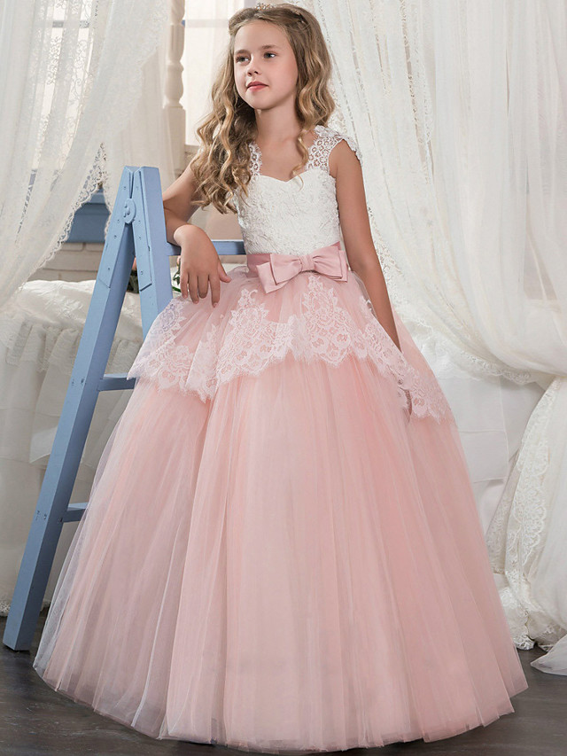 Princess Floor Length Wedding / Party / Pageant Flower Girl Dresses - Lace / Tulle / Mikado Sleeveless Square Neck with Bow(s) / Splicing