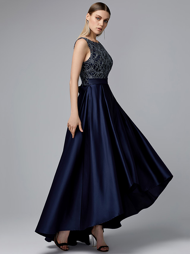A-Line Vintage Inspired Cocktail Party Dress Jewel Neck Sleeveless Asymmetrical Lace Satin with Sash / Ribbon 2020