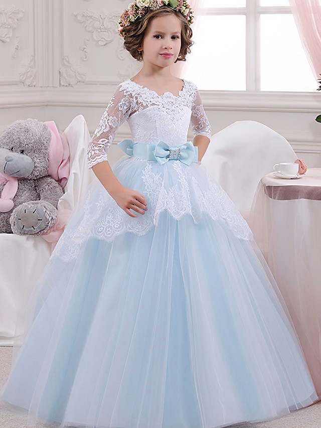Princess Floor Length Wedding / Party / Pageant Flower Girl Dresses - Lace / Tulle / Mikado 3/4 Length Sleeve Square Neck with Lace / Bow(s) / Splicing