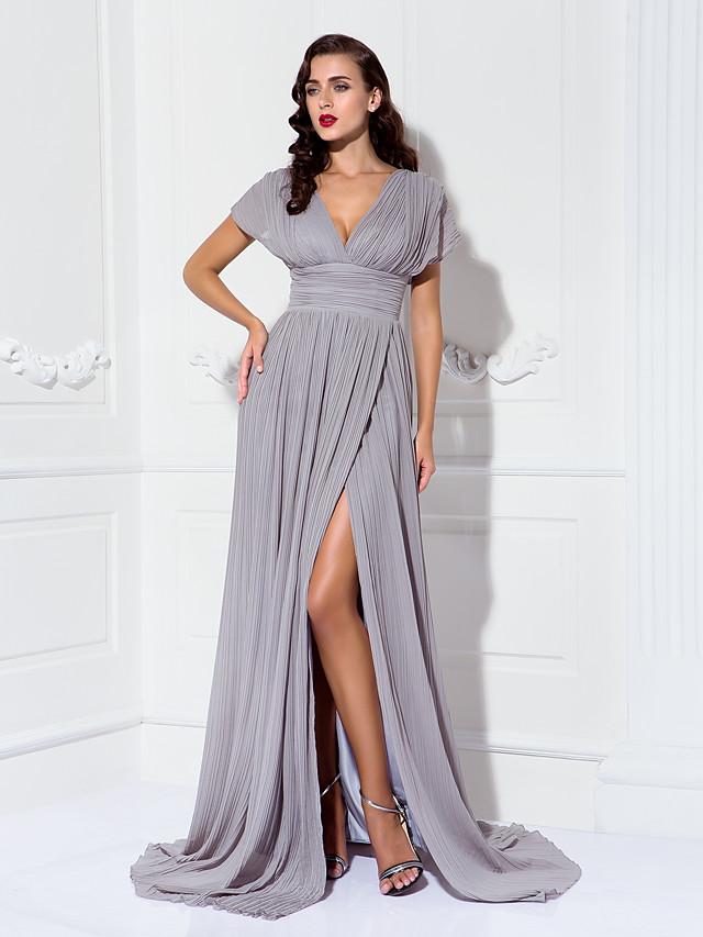 Sheath / Column Elegant Minimalist Furcal Formal Evening Black Tie Gala Dress V Neck Short Sleeve Sweep / Brush Train Chiffon with Pleats Ruched 2020