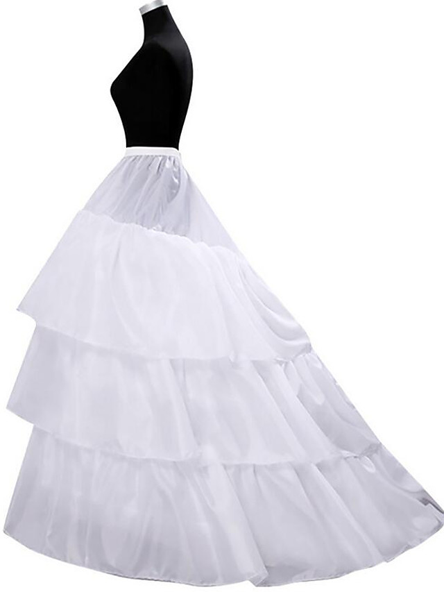 Formal Evening / Wedding Party Slips Chiffon / Polyester / Rayon(T / R) Gown Length / Cathedral-Length Chapel Train / Steel ring with Cascading Ruffles / Gore