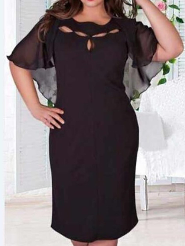 2019 New Arrival Women Daily Slim Chiffon Dress Solid Colored Plus Size  Robe Femme Vestidos Beautiful Plus Size Dresses