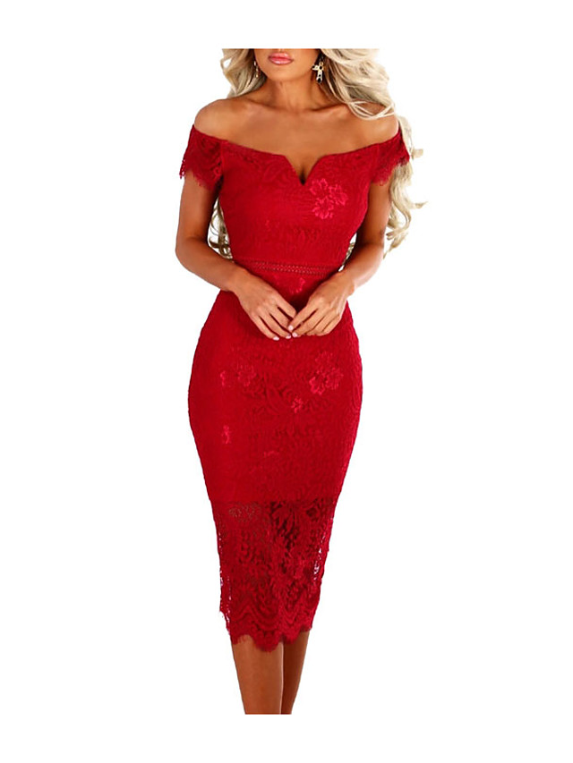Women's Bodycon Dress - Short Sleeve Solid Colored Lace Off Shoulder Spring Summer Off Shoulder Sexy Cocktail Party Birthday Belt Not Included Red Camel Royal Blue S M L XL