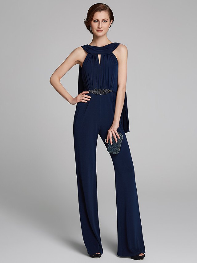 Pantsuit / Jumpsuit Cowl Neck Floor Length Jersey Sleeveless Mother of the Bride Dress with Beading / Ruching Mother's Day 2020
