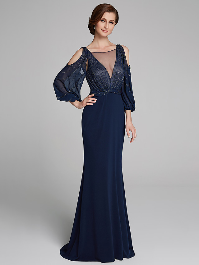 Sheath / Column Boat Neck Floor Length Chiffon / Jersey Long Sleeve Sparkle & Shine Mother of the Bride Dress with Beading / Ruching Mother's Day 2020