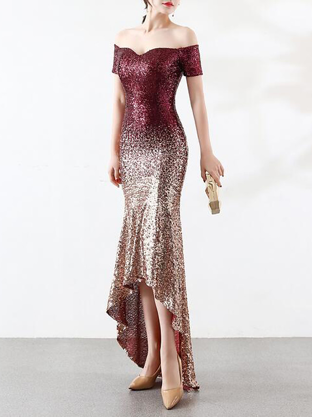 Mermaid / Trumpet Color Block Sparkle & Shine Formal Evening Dress Off Shoulder Short Sleeve Asymmetrical Sequined with Crystals Sequin Embroidery 2020