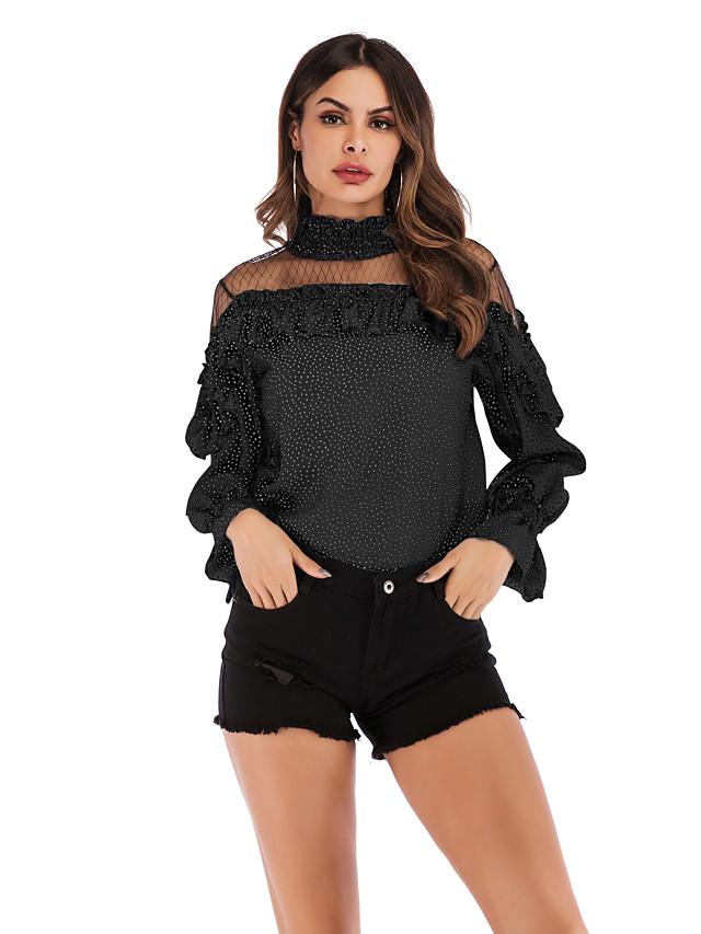 Women's Blouse Shirt Polka Dot Long Sleeve Patchwork Print Round Neck Tops Cotton Basic Streetwear Basic Top White Black Blue