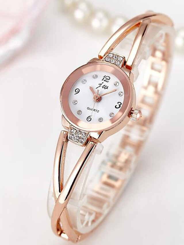 Women's Quartz Watches Gold Watch Quartz Casual Casual Watch Stainless Steel Silver / Rose Gold Analog - Rose Gold Black Silver One Year Battery Life