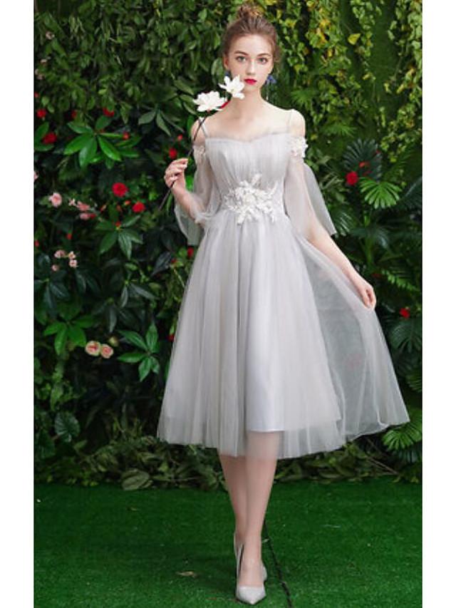 Sheath / Column Off Shoulder Medium Length Tulle Bridesmaid Dress with Pleats
