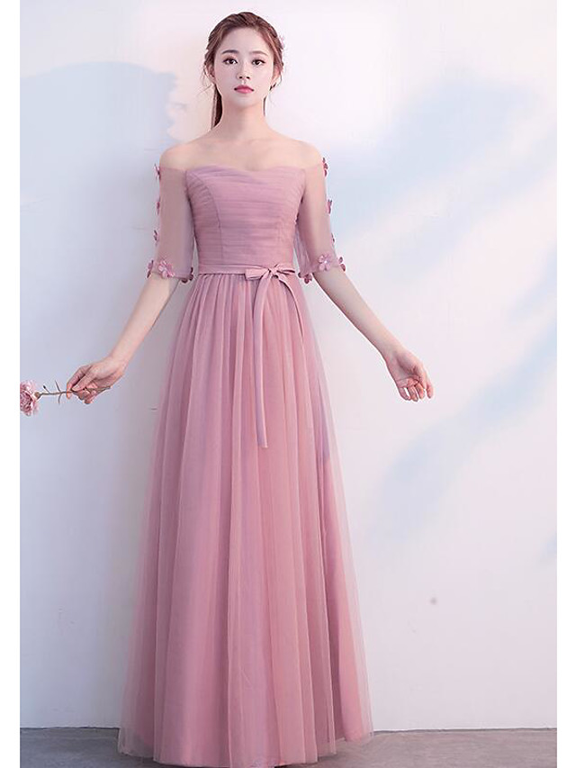 Sheath / Column Scoop Neck Long Length Tulle Bridesmaid Dress with Pleats