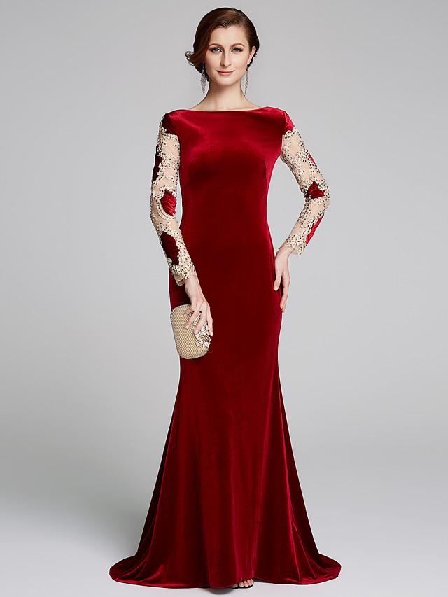Mermaid / Trumpet Mother of the Bride Dress Elegant & Luxurious Bateau Neck Sweep / Brush Train Velvet Long Sleeve with Appliques 2020