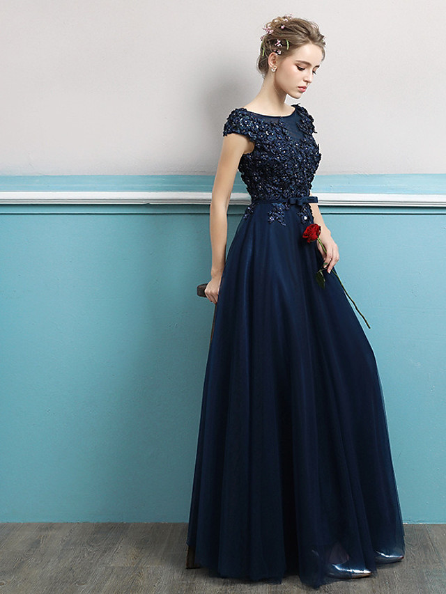 A-Line Jewel Neck Floor Length Tulle Bridesmaid Dress with Lace