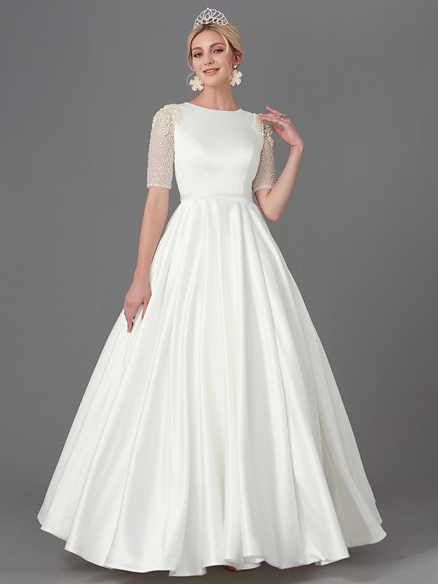 A-Line Wedding Dresses Jewel Neck Floor Length Satin Half Sleeve with Sash / Ribbon Buttons Beading 2020