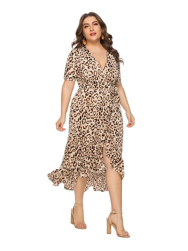 Mujer Tallas Grandes Boho Chic De Calle Corte Ancho Gasa Vestido Leopardo Hasta La Rodilla Escote En V Profunda 7156728 2020 38 49
