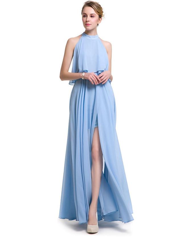 A-Line Halter Neck Chiffon Bridesmaid Dress with Ruffles