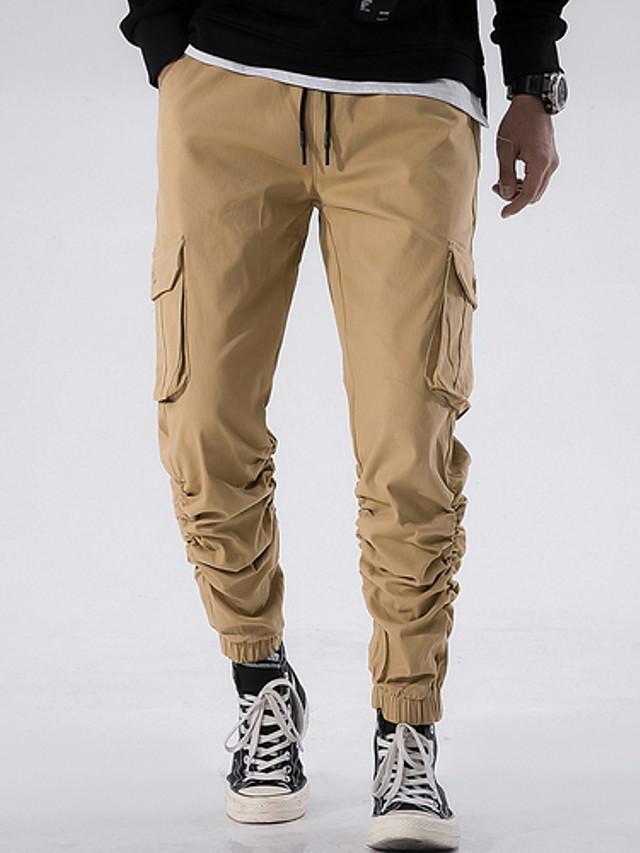 Hombre Basico Pantalones Tipo Cargo Pantalones Un Color Negro Wine Marron Claro 30 32 34 7202941 2021 25 29