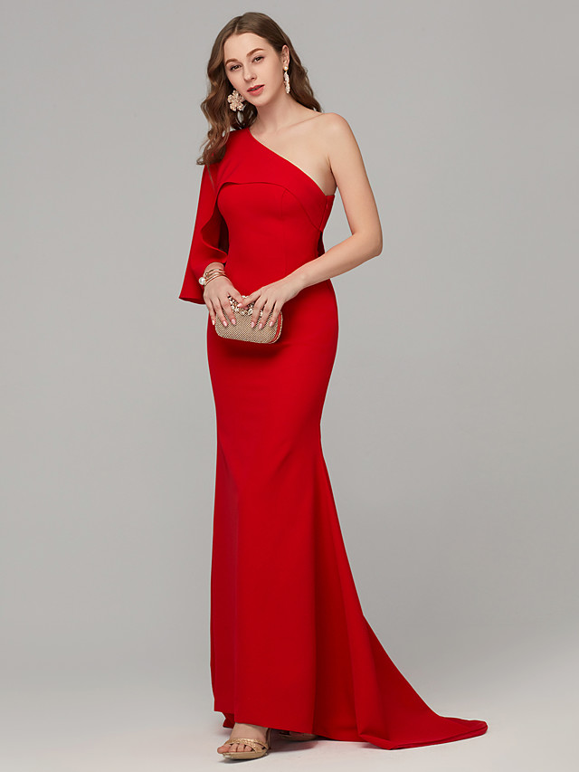 Mermaid / Trumpet Sexy Red Engagement Formal Evening Dress One Shoulder Sleeveless Sweep / Brush Train Crepe Jersey with Draping 2020