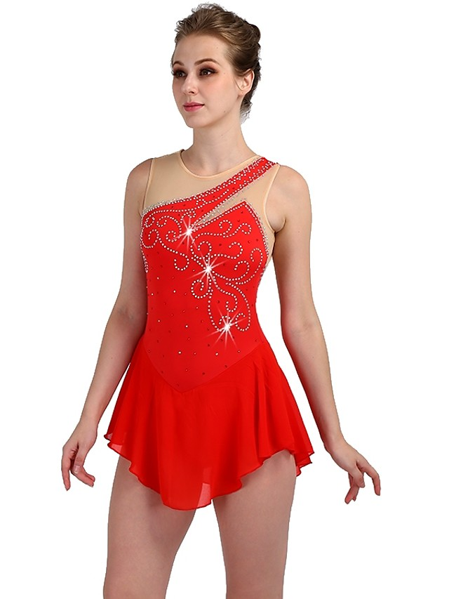 Figure Skating Dress Women's Girls' Ice Skating Dress Red Spandex Stretch Yarn Skating Wear Quick Dry Anatomic Design Handmade Classic Sleeveless Ice Skating Figure Skating