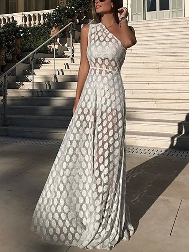 A-Line Elegant Vintage Inspired Holiday Formal Evening Dress One Shoulder Sleeveless Floor Length Lace with Lace Insert 2020