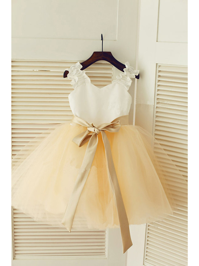 A-Line Tea Length Wedding / First Communion / Pageant Flower Girl Dresses - Satin / Tulle Sleeveless Strapless with Belt