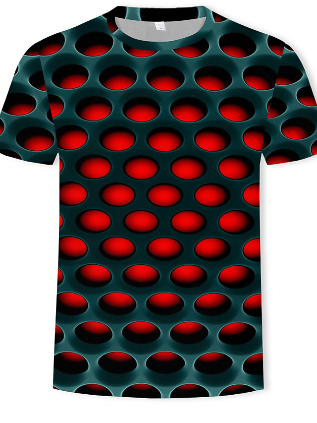 Men's Graphic 3D Print T-shirt Street chic Exaggerated Daily Casual Round Neck Purple / Red / Royal Blue / Light Green / Summer / Short Sleeve