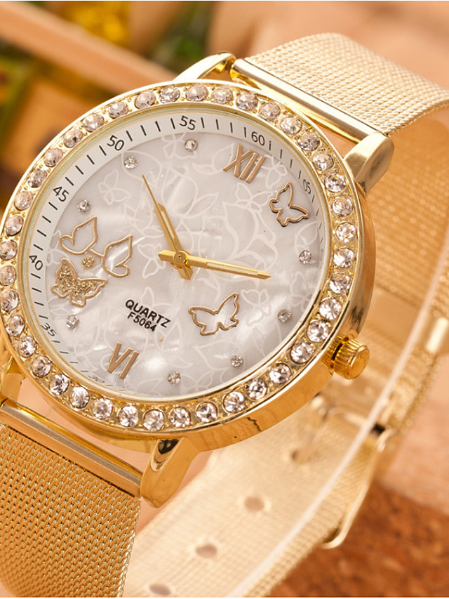 Women's Quartz Watches Quartz Butterly Style Rhinestone Casual Watch Analog Gold / One Year / Stainless Steel / One Year