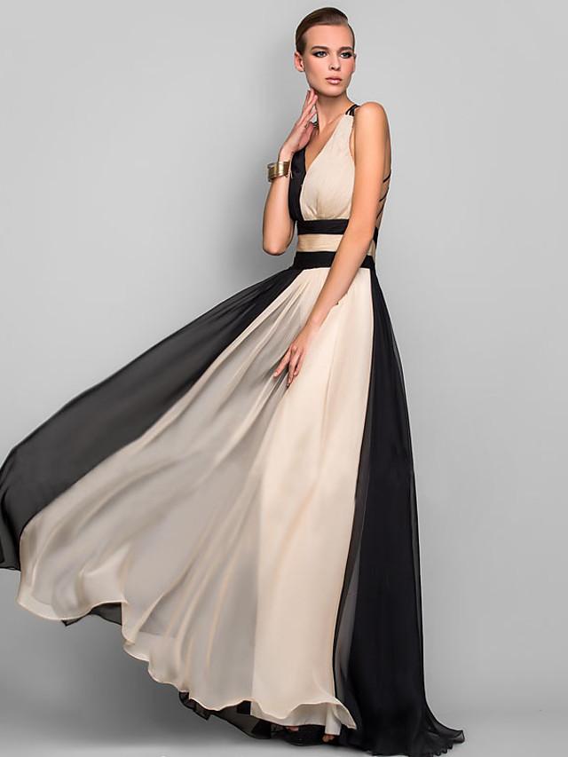 Black Dress Color Block Black Tie Gala V Neck S M