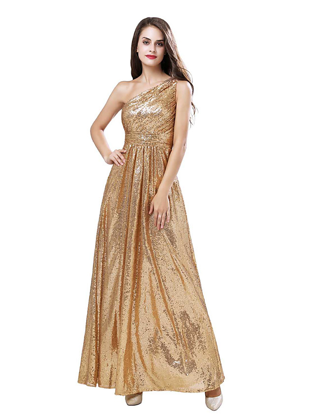 A-Line Elegant Sparkle Party Wear Prom Dress One Shoulder Sleeveless Floor Length Sequined with Pleats Ruched Sequin 2020