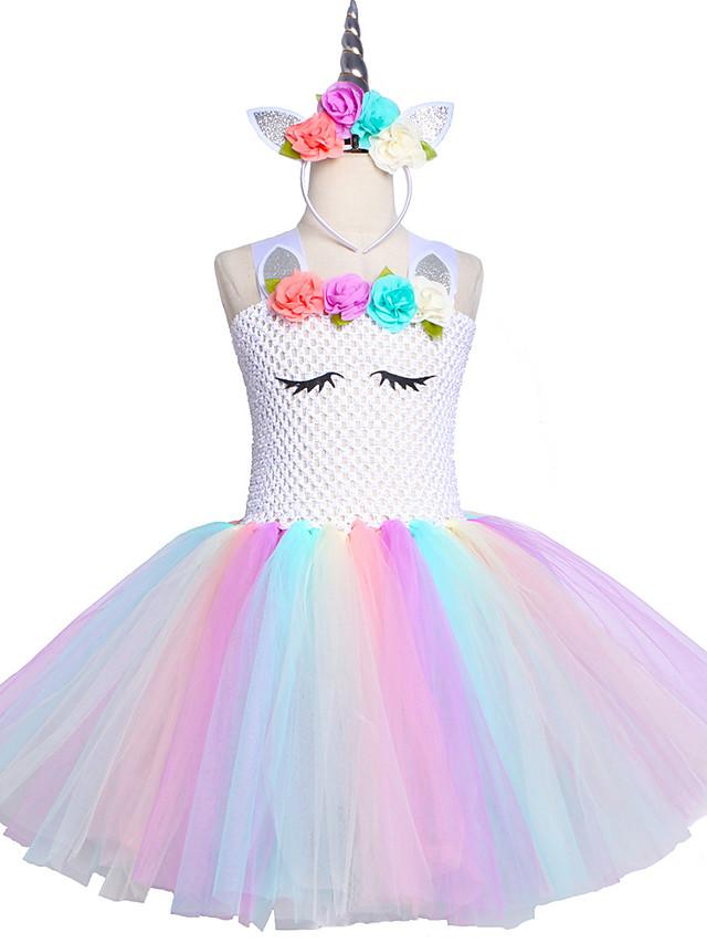 Kids Unicorn Tutu Dress Knee-Length Pastel Rainbow Children Halloween Unicorn Headband Set