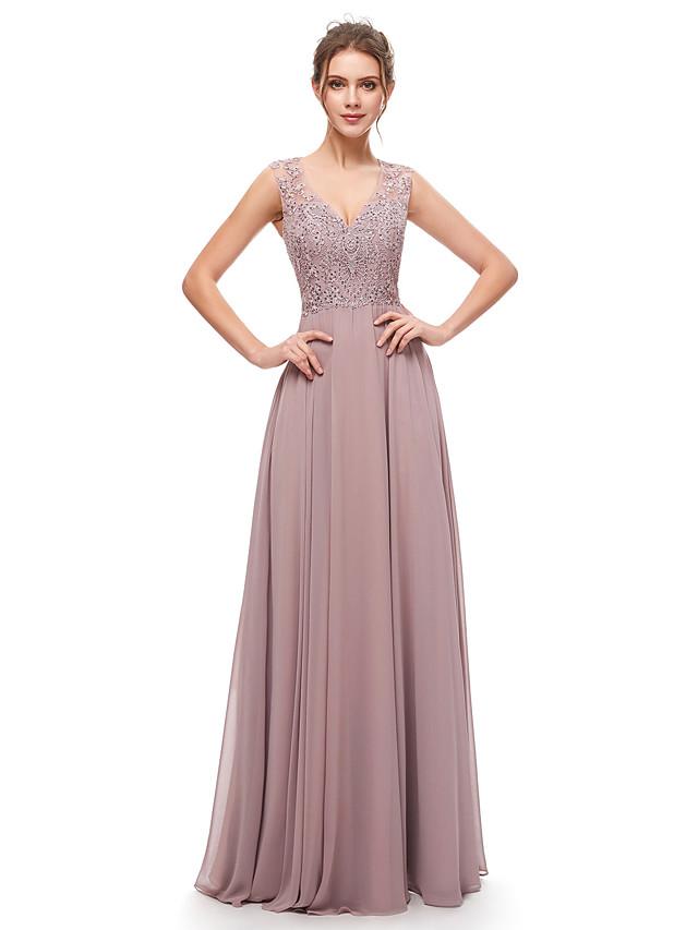 A-Line Elegant Beautiful Back Wedding Guest Formal Evening Dress V Neck Sleeveless Floor Length Chiffon with Pleats Crystals 2020