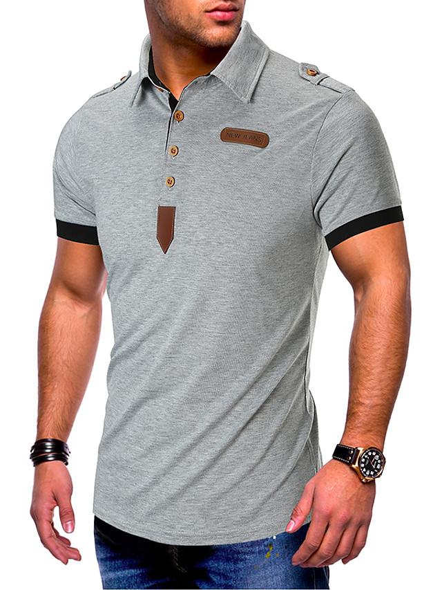 Муж. Пэчворк Размер ЕС / США - Polo Хлопок, Рубашечный воротник Классический Однотонный Черный / С короткими рукавами